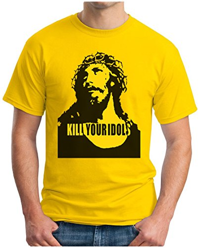 OM3 - KILL YOUR IDOLS - T-Shirt 90s Jesus Hardcore Punk Grunge Music Band New York NYC USA Swag, XL, Gelb (T-shirt Slash Skull)