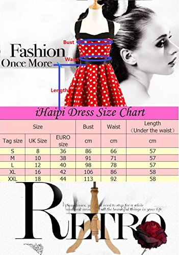 iHaipi - Robe de bal Polka Vintage pin-up à 'Audrey Hepburn' 50's 60's Rockabilly Halter,dos nu, à pois (01. Small, 012 Grande Verte) 016 Bleu Fond Rouge Fleur