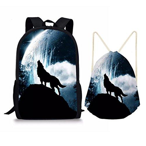 showudesigns Kawaii Tier Design Erwachsene Tasche mit Kordelzug Tagesrucksack Kinder Schultasche M cool Wolf Set -