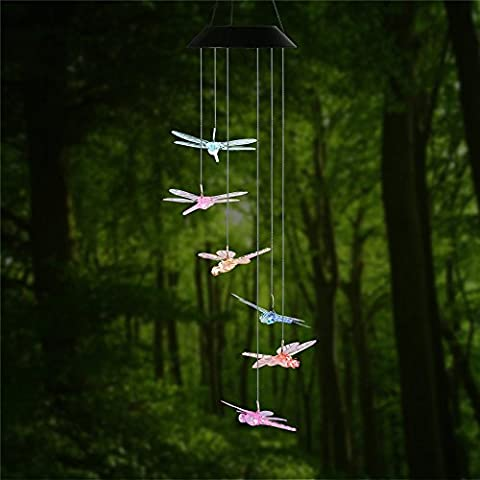 Changing Color Dragonfly Wind Glockenspiel, ANZOME Spiral Spinner Windchime Portable Outdoor Dekorative Romantische Windbell Licht für Patio, Deck, Hof, Garten, Haus, Pathway