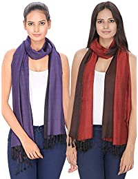 Anekaant Reversible Viscose Stole Pack Of 2 (70x200 cm)