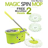 [Sponsored]Hugo Bucket Magic Spin Mop Double Drive Hand Pressure With 2 Microfiber Mop Head Household Floor Cleaning (With Soap Dispenser) (Color May Vary)
