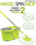 #8: Hugo Mop Bucket Magic Spin Mop Bucket Double Drive Hand Pressure With 2 Microfiber Mop Head & 4 Color May Vary (With Soap Dispenser)