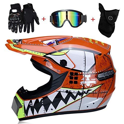 NJMSC MX casco motocross casco motorino ATV casco fuoristrada distribuzione casco di occhiali fuoristrada guanti e maschera, giallo, XL (58~59 centimetri), arancia, S (52~53 centimetri)