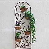 ZYN Blumen-Regal-Schmiedeeisen-mehrschichtiges Wand-hängendes Dekoration-Innenwand-hängendes europäisches Art-Blumen-Stand (Farbe : Retro Copper, größe : L43.5CM*H128CM)