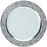 DECORLINE -Stabile Luxe Kunststoff Einwegteller -einweggeschirr - Weiß mit Silber Spitzenrand -Inspiration Collection (Teller 19 cm)