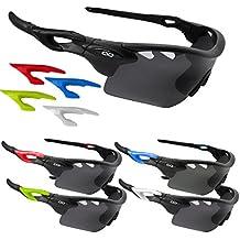 CVC Airwrap polarizadas Pro deportes Ciclismo Running Golf gafas de sol Set con 5lentes intercambiables, Stealth Matte Black (with 4 Extra Side Clips)