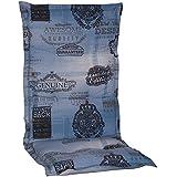 nxtbuy Gartenstuhl-Auflage Nizza 120x52 cm Jeans Blau 2er Set - Hochlehnerauflage für Gartenstühle - Stuhlauflage mit Komfortschaumkern - Made in EU / ÖkoTex100