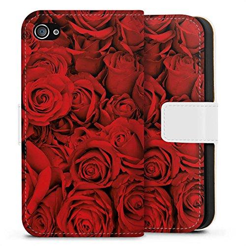 Apple iPhone X Silikon Hülle Case Schutzhülle Rose Rosen Blüten Sideflip Tasche weiß
