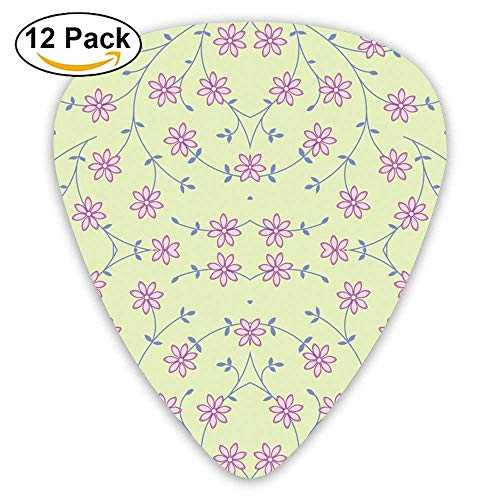 Daisy Vine Green Fabric Guitar Picks For Electric Guitar 12 Pack - Funny New Best Vine
