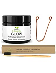 Isabella's Clearly Oral Care 4-Piece Kit - GLOW Teeth Whitening Activated Charcoal + BAMBOO Soft Toothbrush with Charcoal Infused Bristles + COPPER Tongue Scraper + Reusable Eco-Friendly Gift Bag. Natural, Food-Grade, Non-GMO, BPA Free.