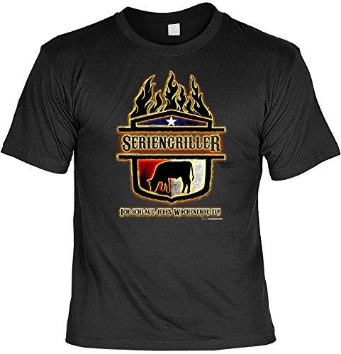 Wichtigeres als Grillen - Nur was? - Männer T-Shirt mit Mini Shirt It´s Grill Time - Gourmet Geschenk Set für Ihn Schwarz