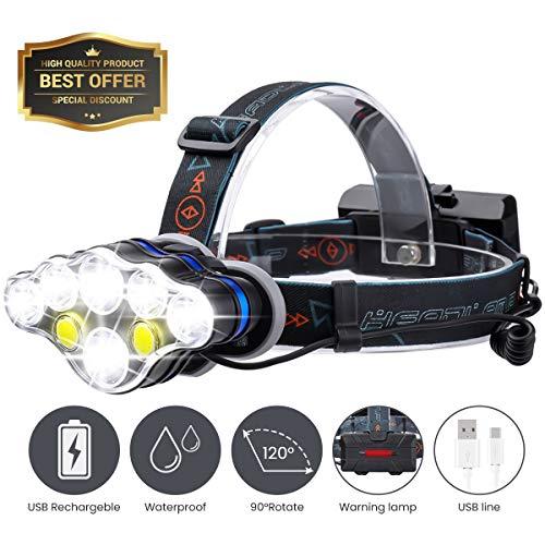 SGODDE 8 LED Stirnlampe, USB Wiederaufladbare Kopflampe, Wasserdicht 8 Modi 5500 Lumen Kopfleuchten, Superheller für Camping, Mountainbiking, Fischerei, Keller,Laufen, Campen, Wandern und Spaziereng
