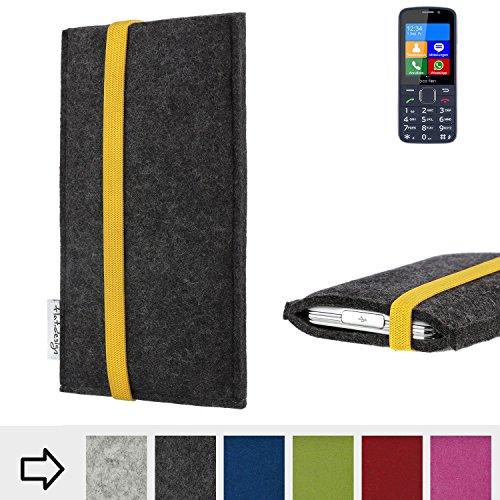 flat.design Handy Hülle Coimbra für bea-fon SL820 passgenau Handytasche Filz Tasche fair schwarz gelb