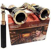 HQRP Prismáticos de ópera / Binocular de Teatro 3 x 25 negros con cadena dorada con mango extensible