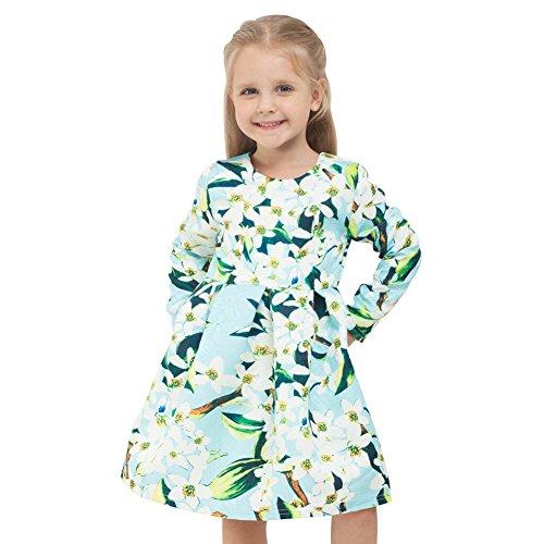 Sanlutoz Mädchen Blumen Kleid Prinzessin Kleider Kleinkind Kostüme Kind Kleidung (7-8 Jahre 130cm Höhe) (Klassische Halloween Kostüme Für Kleinkinder)