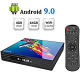 Sidiwen Android 9.0 TV Box A95X R3 Android Box 4 Go de RAM 64 Go de ROM RK3318 Quad-Core 2.4 / 5.0G Dual WiFi Bluetooth 4.2 Ethernet H.265 3D 4K Ultra HD Smart TV Box