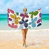 Jacklee Strandtücher Butterflies Groß Mikrofaser für Erwachsene Kinder 94 x 188 cm Schnell Trocknend Leicht Super saugfähig Reisehandtuch