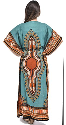 Nightingale Collection Damen Kaftan Kleid Blaugrün