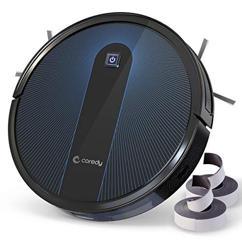 Coredy Saugroboter R650 mit Boost Intellect, Abwaschbarer Filter, 1600Pa Saugkraft, inklusive Abgrenzungsstreifen, Super Leise, Slim, Automatischer Staubsauger Roboter, für Hartböden und Teppiche