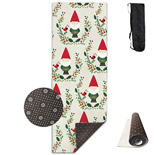 Feng Mei Yan Jiu Fitness Yoga Mat YogamattenChristmas GNOME Unique Non-Slip Pattern Towels,Pilates Sports Paddle Board Yoga Exercise 24 X 71 Inches Durable Yoga Mats -