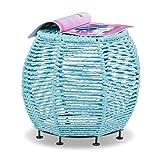 Relaxdays Strick Hocker Shabby Chic, Sitzhocker aus Metall u. Stoff, runder Pouf m. Beine HxBxT 35 x 42 x 42 cm, türkis