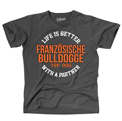 Siviwonder Unisex T-Shirt FRANZÖSISCHE BULLDOGGE - LIFE IS BETTER PARTNER Hunde Dark Grey