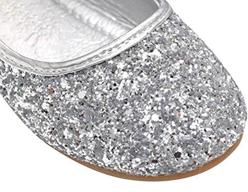 SMITHROAD Mädchen Prinzessin Schuhe Bow Halbschuhe Casual Slipper Hochzeit Ballerinas Pailletten Gold Silber Gr. 25 bis 33 Silber