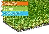 Kunstrasen Arizona - Muster | hochwertige Echtrasenoptik | Florhöhe 26 mm | Gewicht 2.000g/m² | UV-Sicher | mit Drainagefunktion und Wasserdurchlässig 60 Liter/Min/m² | Kunststoffrasen | Rollrasen