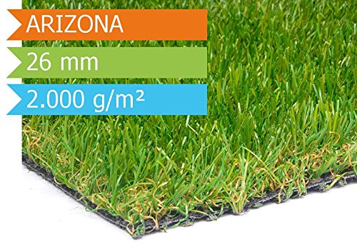 Preisvergleich Produktbild Kunstrasen Rasenteppich Meterware Arizona mit Drainage - 2,00m x 1,00m, Florhöhe 30mm, 20€/qm, Kunststoffrasen, Rollrasen, UV-Beständiger, Wasserdurchlässiger Kunstrasen für Balkon, Terrasse und Garten