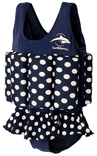 Konfidence Badeanzug mit Schwimmhilfe 1-2 Jahre Blau - Gepunktet (Mädchen Dot Badeanzug Polka)
