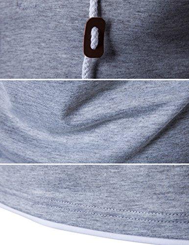 YCHENG Herren T-Shirt mit Kapuze und Knopfleiste Kurzarm Tops Grau 1