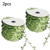 joyliveCY Künstliche Grüne Blatt-Rebe-Simulations-Blumen-Laub-Grün verlässt dekoratives -2PCS