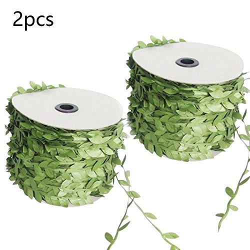 (joyliveCY Künstliche Grüne Blatt-Rebe-Simulations-Blumen-Laub-Grün verlässt dekoratives -2PCS)