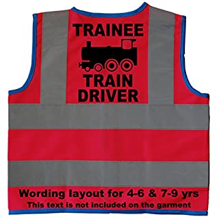 Trainee Train Driver Baby/Children/Kids Hi Vis Safety Jacket/Vest Size 4-6 Years Red Optional Personalised On Front