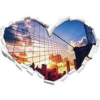 Manhattan al tramonto a forma di cuore in formato sguardo, parete o adesivo porta 3D: 92x64.5cm, autoadesivi della parete, decalcomanie della parete,