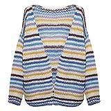 Zolimx Mujer Jersey Invierno Prendas de Punto Sudaderas de Manga Larga Cardigan Suéter Talla Grande Abrigo Tamaño Jersey de Costura a Rayas Abrigo Casual Holgado