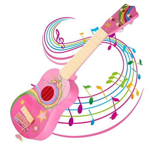 Rosa Gitarren-saiten (Kinder Gitarre, Foxom 4 Saiten Ukulele Gitarre Spielzeug Musikinstrument Pädagogisches Spielzeug Geschenk für Kinder Junge Mädchen ab 3 Jahre (Rosa))