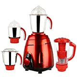 Sunmeet V-G Metallic 600 Watts 4 Jar Mixer Grinder (Red)