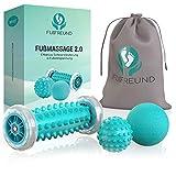 FUßFREUND© Premium Fußmassagegerät Fußmassage Roller [3er Set] - Verbessertes Konzept 2019 - Innovativer Fußmassageroller Fuß Igelball zur Stressreduzierung und Entspannung - Massage Ball Fußroller