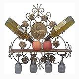 an der Wand befestigter Metallwein-Gestell-Halter Hält 2 Flaschen und 4 Wein-Gläser Speicher-Anzeige an, die für Küche, Bar, Keller, Kabinett und Pantry Perfekt Sind