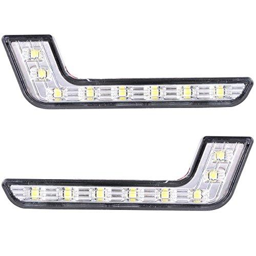 XCSOURCE® Luces LED de Circulación Diurna DRL Brillantes, 2 Paneles con 8 LEDs Blancos 12V MA145
