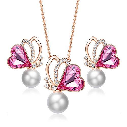 Schmuck Halskette Ohrringe galvanisch Rose Gold Set Geschenk für Frauen ()