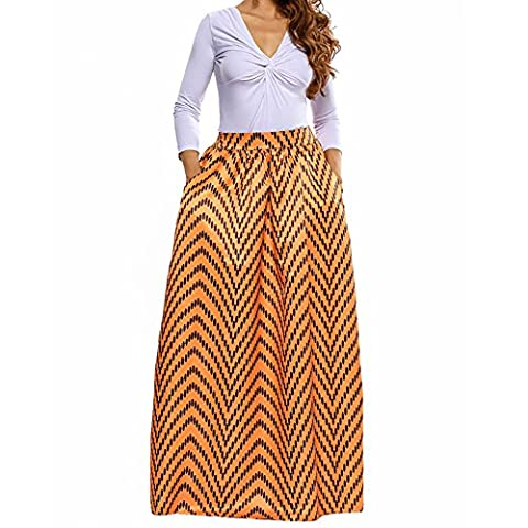Women Deluxe African Print Color Block Contrast High Waist Maxi Flared Circle Skirt