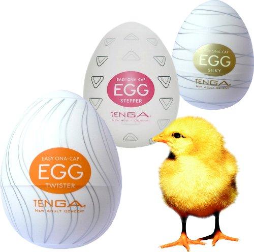 Tenga Egg Onacap - das Geschäftsreise-Ei als 3-er Set (Nr. 2 - je 1x Twister, Stepper, Silky)