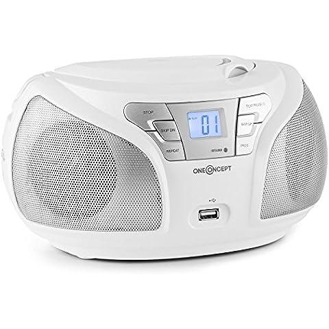 oneConcept Groovie Boombox con Bluetooth (estéreo portátil apto para pilas, reproductor CD, radio FM, puerto USB con MP3, entrada AUX, altavoz estéreo, apto Smartphones) -