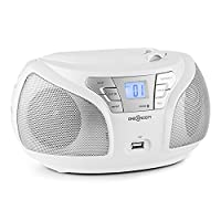 oneConcept Groovie WH Boombox CD-Player Stereo Bluetooth FM Radio Tuner AUX Input MP3 USB (Stereo Full-Range Speaker, Highly Mobile with Compact Dimensions, Folding Carrying Handle) White