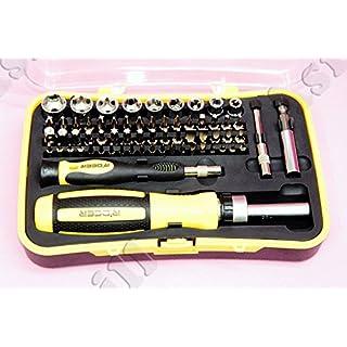 65-in-1 Legierungsstahl Schraubendreher Tool Kit für Autopflege - Silber + Schwarz + Gelb