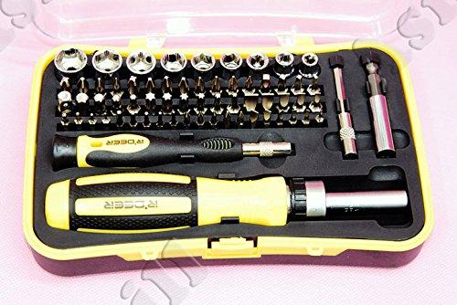 Preisvergleich Produktbild 65-in-1 Legierungsstahl Schraubendreher Tool Kit für Autopflege - Silber + Schwarz + Gelb