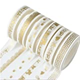 #10: Hexawata Gold Color Patterns Paper Masking Adhesive Tape for Scrapbooking DIY Craft 6Pcs